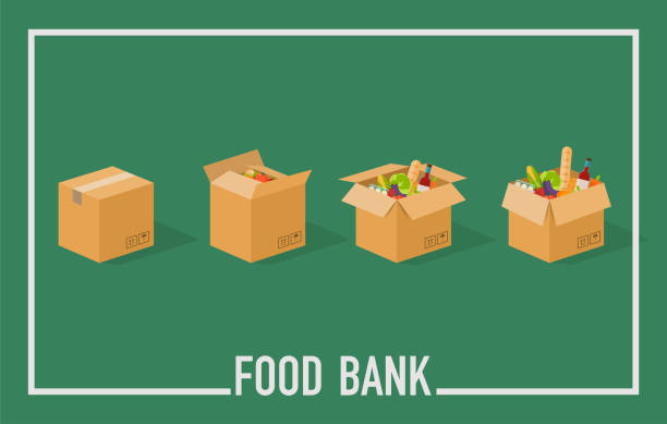 Food Bank simple concept illustration. Time to donate. Food donation. Boxes full of food. Vector concept illustrations. Food Bank simple concept illustration. Time to donate. Food donation. Boxes full of food. Vector concept illustrations. food bank stock illustrations