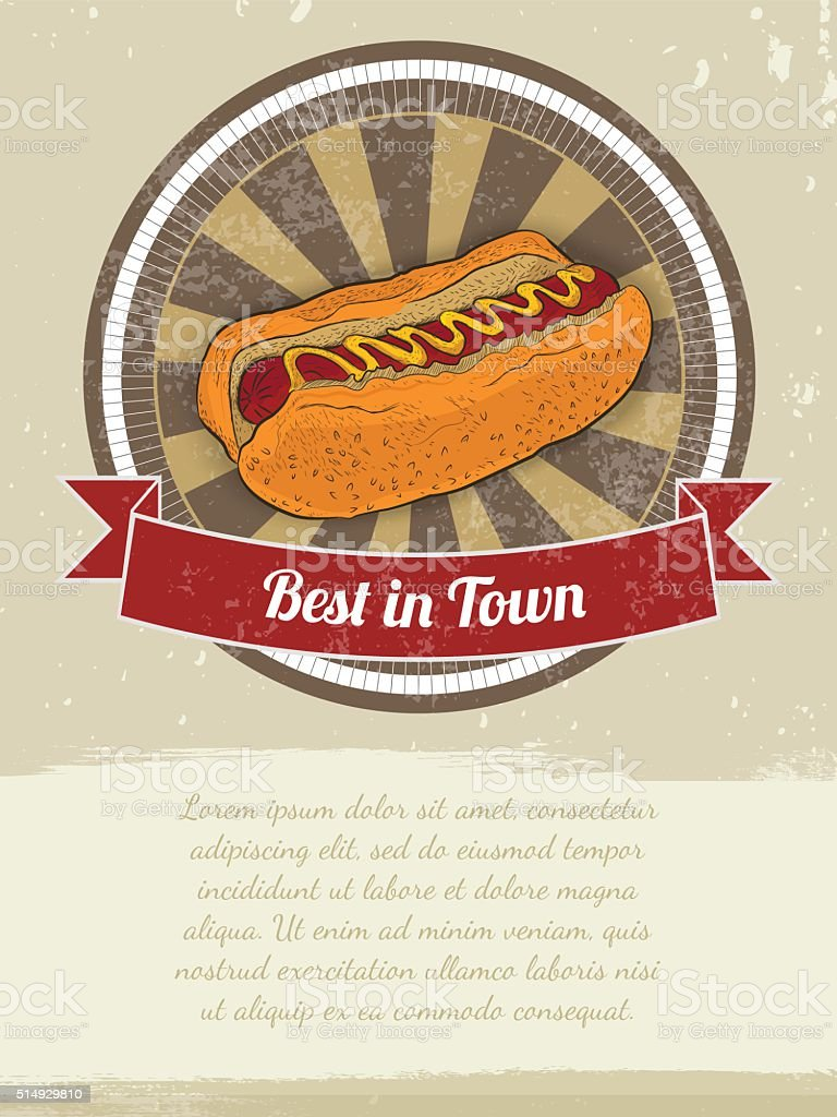 Food Banner with Hot-Dog for advertising. Vector illustrations vector art illustration
