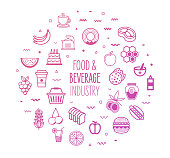 Food and beverage industry outline style symbols on modern gradient background. Line vector icons for infographics, mobile and web designs.