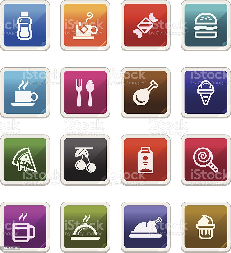 Food & Beverages Icons - sticker series royalty-free stock vector art