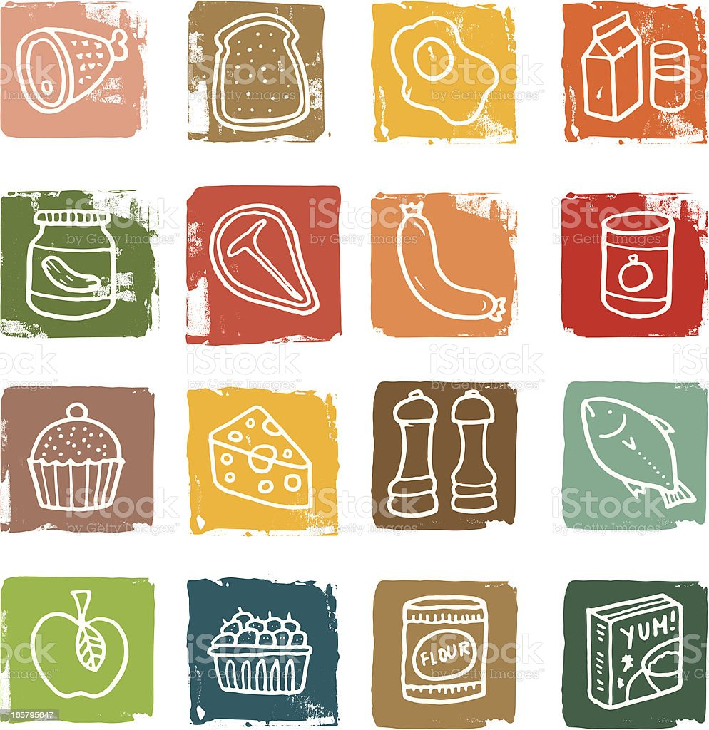 Food block icon set royalty-free stock vector art