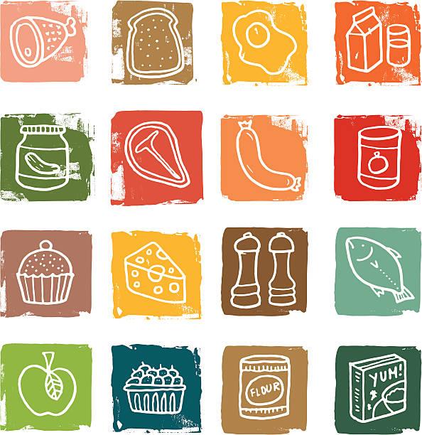 Food block icon set vektorkonstillustration