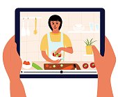 Food blogger is on laptop display. Culinary video broadcast or channel  with cooking online class. Young woman preparing salad in kitchen. Hand holding digital tablet. Healthy food at home. Vector illustration