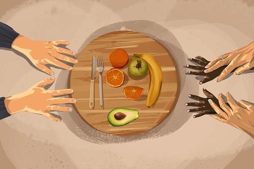 Food board with vegetarian food