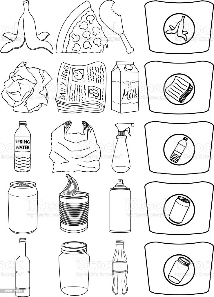 Food Bottles Cans Paper Trash Recycle Pack Lineart vector art illustration
