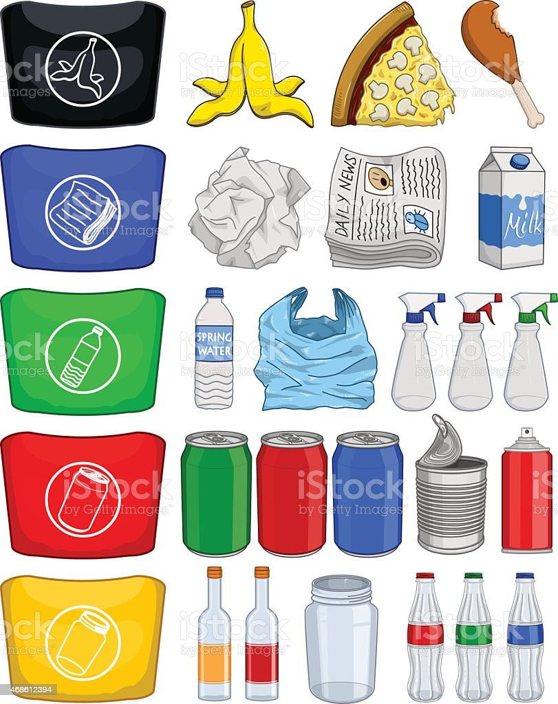 Food Bottles Cans Paper Trash Recycle Pack vector art illustration