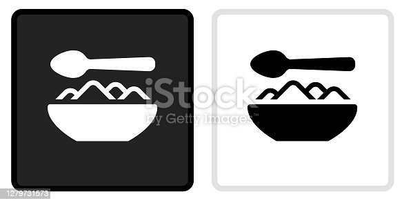Food Bowl Icon on  Black Button with White Rollover. This vector icon has two  variations. The first one on the left is dark gray with a black border and the second button on the right is white with a light gray border. The buttons are identical in size and will work perfectly as a roll-over combination.
