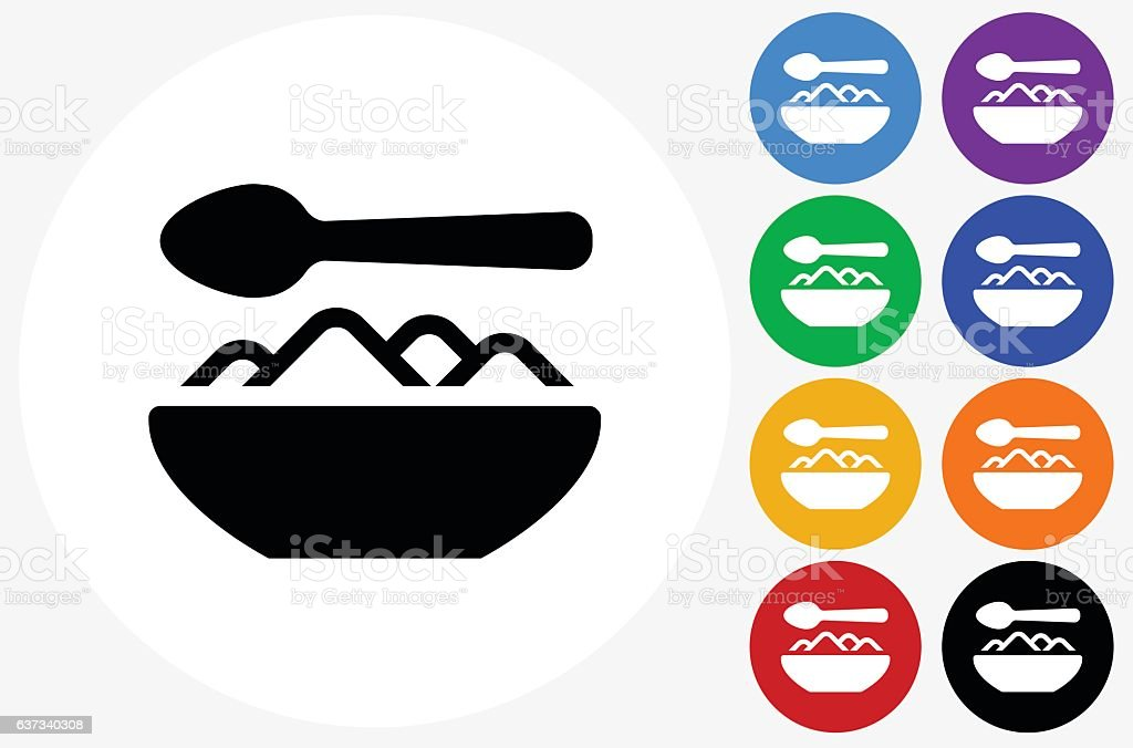 Food Bowl Icon on Flat Color Circle Buttons vector art illustration