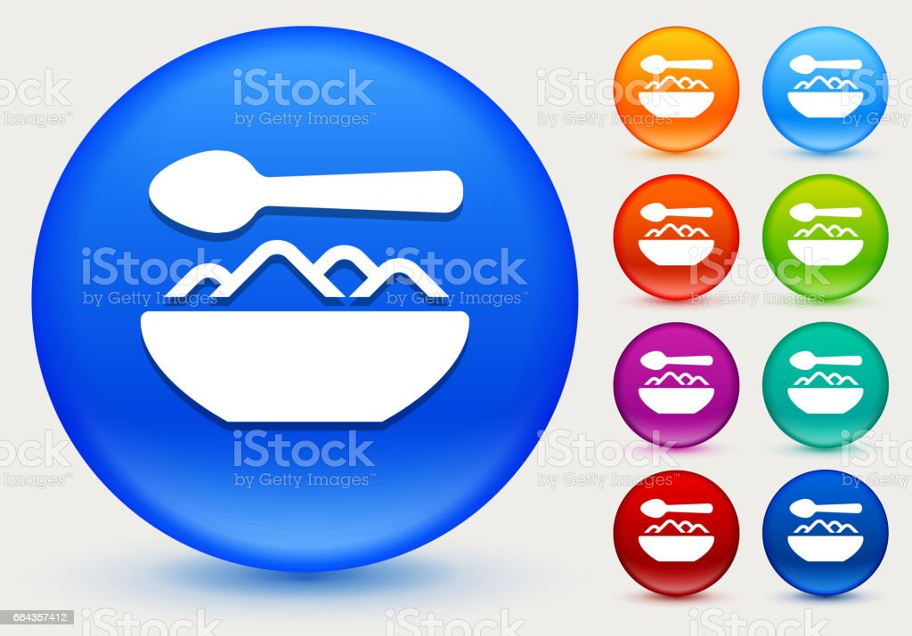 Food Bowl Icon on Shiny Color Circle Buttons vector art illustration