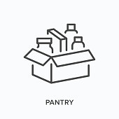 Food box flat line icon. Vector outline illustration of pantry, charity product share. Humanitarian help thin linear pictogram