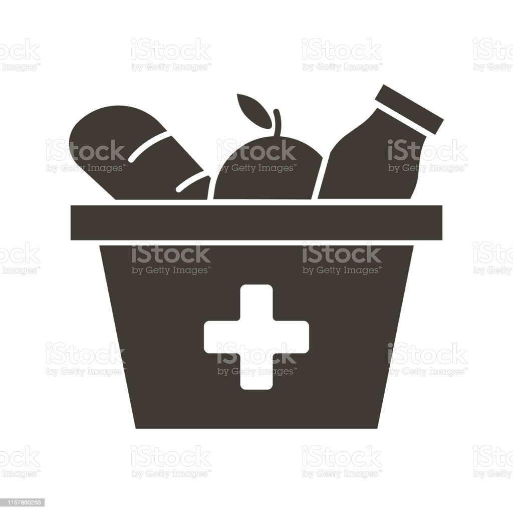 Food Box With A Red Cross Icon Vector Flat Glyph