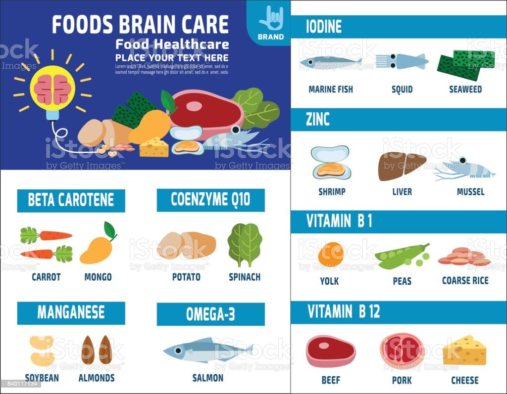 Food brain care. source and benefits. Medical healthcare concept. Foods healthy infographic elements. nutrient and minerals  Vector flat icon design illustration template brochure layout flyer leaflet vector art illustration