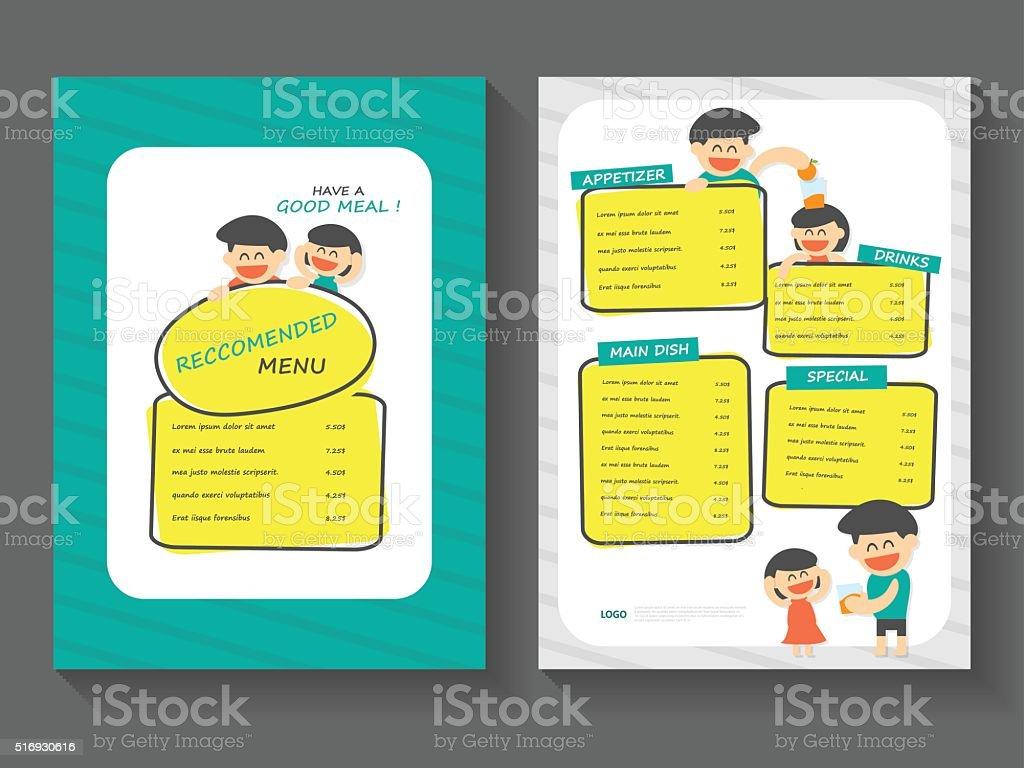 Food Breakfast Menu Layout Template A4 Flat Design Set Stock