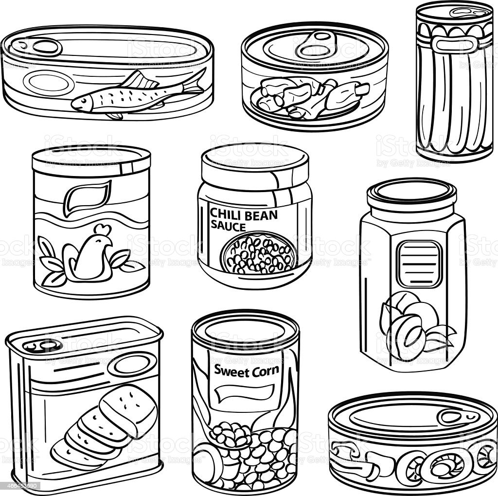 Food Cans vector art illustration