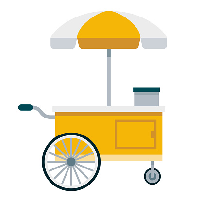Food Cart Icon on Transparent Background