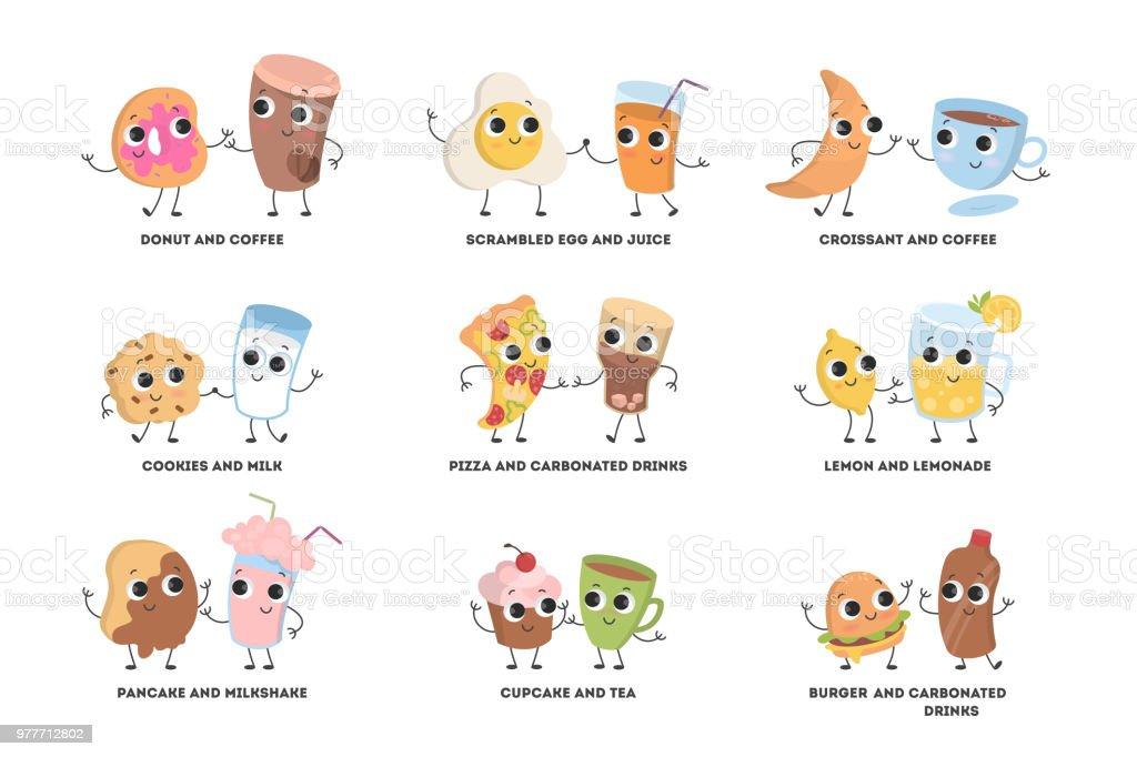 Vetores De Desenhos Animados Alimentos Casais Conjunto E Mais