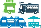 Food cart and street food symbols and icons.