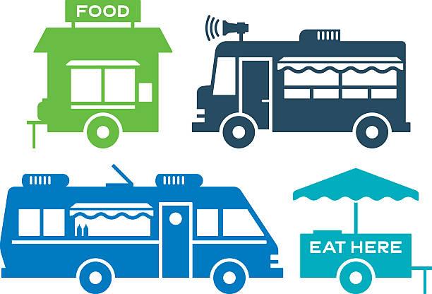 imbisswägen und straße food-icons und symbole - standlautsprecher stock-grafiken, -clipart, -cartoons und -symbole