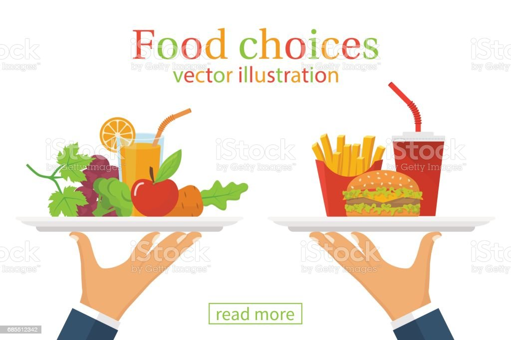 Food choice. Healthy and junk eating. vector art illustration