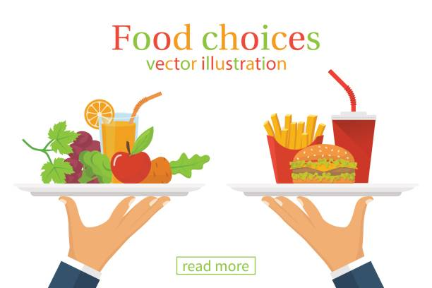 food choice. healthy and junk eating. - junk food stock illustrations, clip art, cartoons, & icons