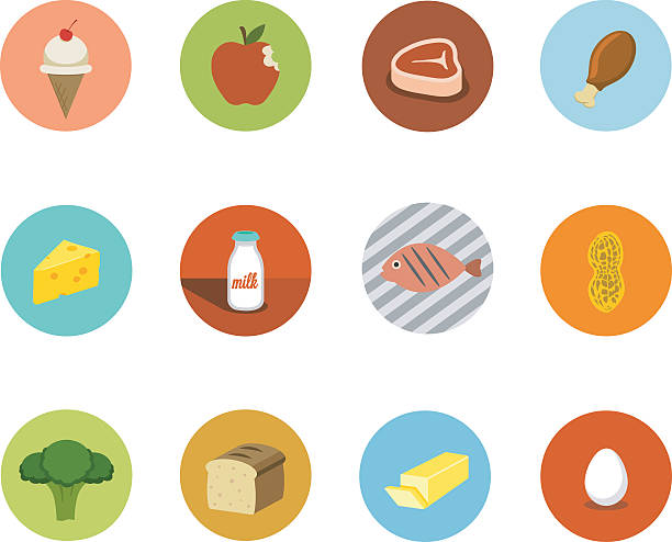 stockillustraties, clipart, cartoons en iconen met food circle icons - pinda voedsel