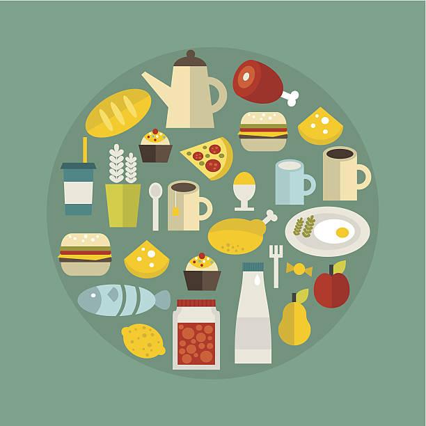 food circle. - pflaumenkuchen stock-grafiken, -clipart, -cartoons und -symbole
