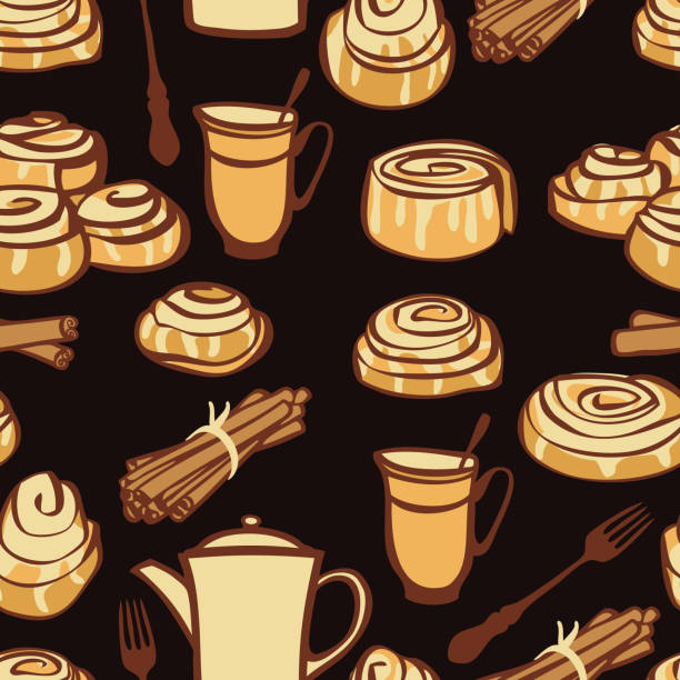 food collection afternoon tea with cinnamon buns bakery spices black background - cinnamon roll stock illustrations, clip art, cartoons, & icons