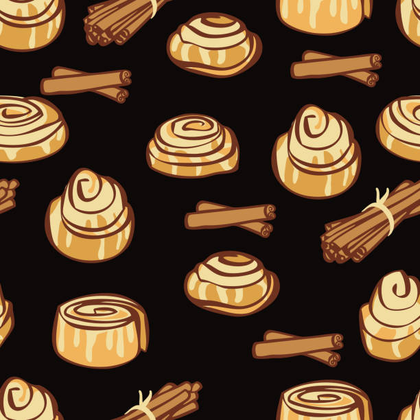 food collection delicious cinnamon buns and cinnamon sticks black backgound - cinnamon roll stock illustrations, clip art, cartoons, & icons