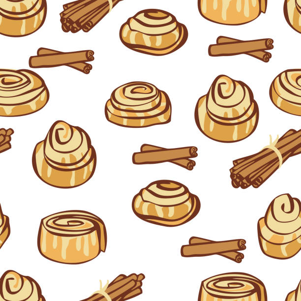 food collection delicious cinnamon buns and cinnamon sticks seamless pattern - cinnamon roll stock illustrations, clip art, cartoons, & icons