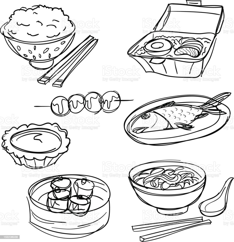 Food collection in Black and White vector art illustration
