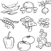 Nine sketch drawing of food, which includes chilli, mushrooms, tomato, pepper and so on.