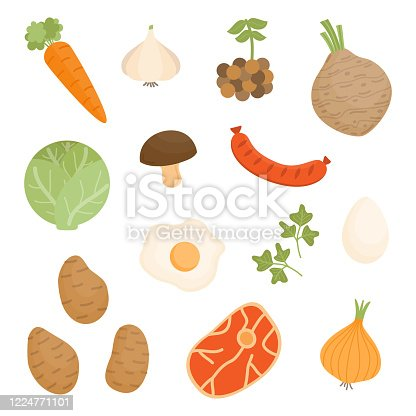 Soup vegetable, food mix vector illustration set. Root vegetable, meat, egg icon collection. Isolated.