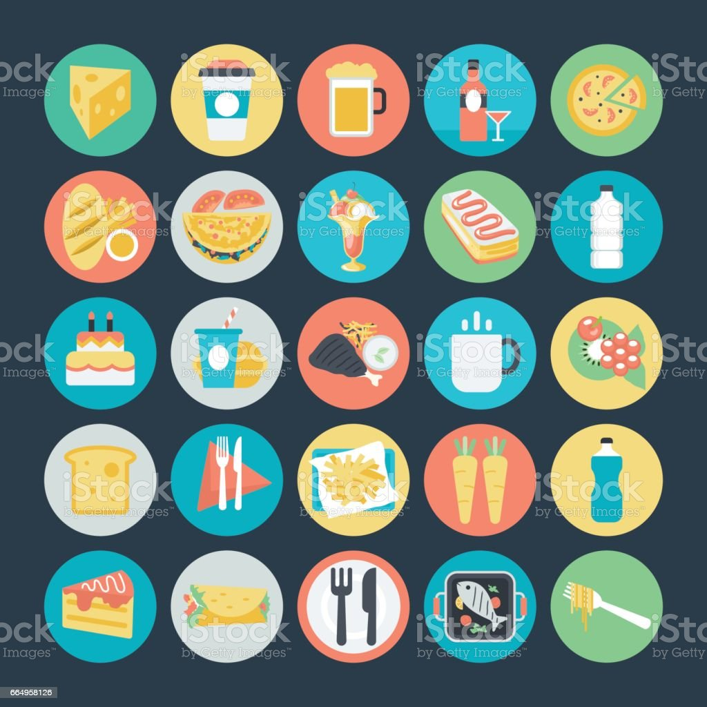 Food Colored Vector Icons 2 vector art illustration