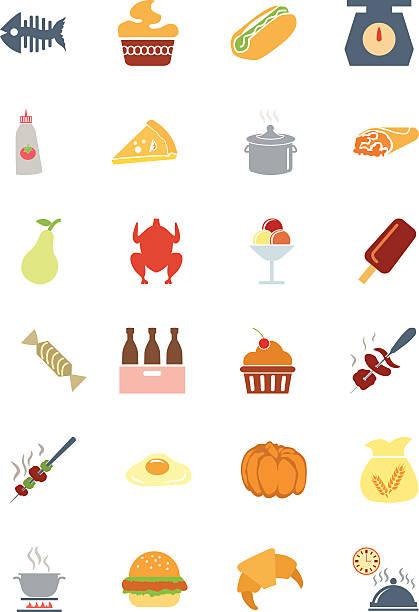 food bunte vektor-icons von 6 - tortenständer stock-grafiken, -clipart, -cartoons und -symbole