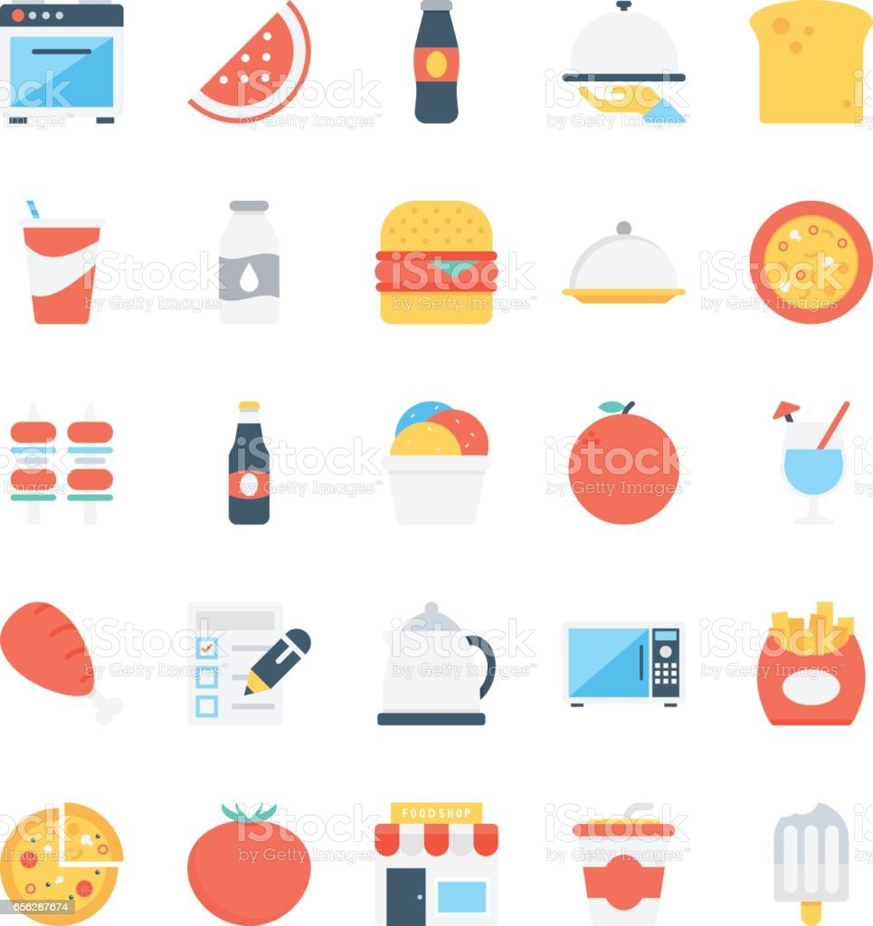 Food Colored Vector Icons 7 vector art illustration