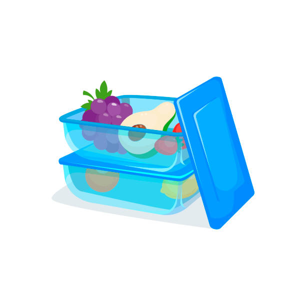 Food container, transparent, blue. Two plastic pack of food box for storing. Healthy food. Lunch box. Several food containers stacked on top of each other for storing in fridge container stock illustrations