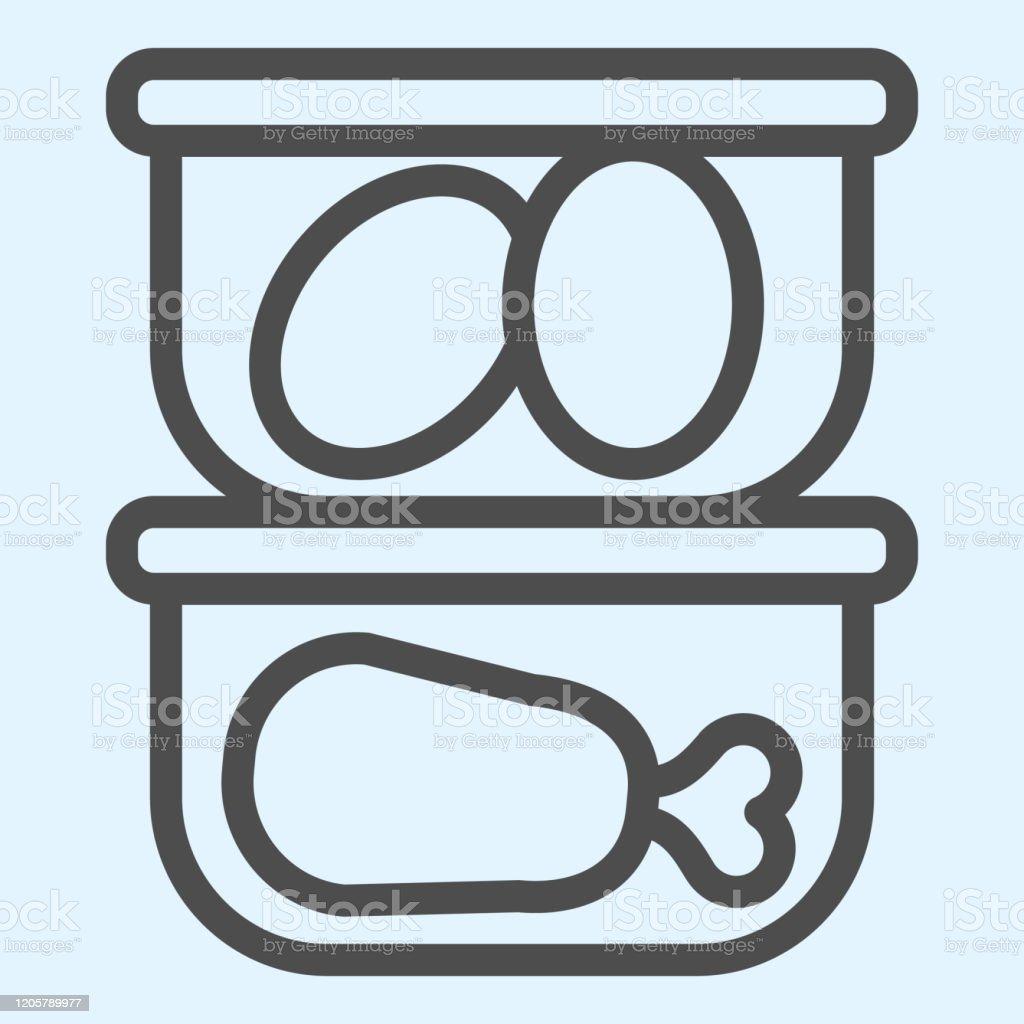 Lebensmittelcontainer Linie Symbol Küchenutensilien Konservierungsmittel  Kunststoffbehälter Homestyle Küche Vektordesignkonzept Umriss Stil  Piktogramm