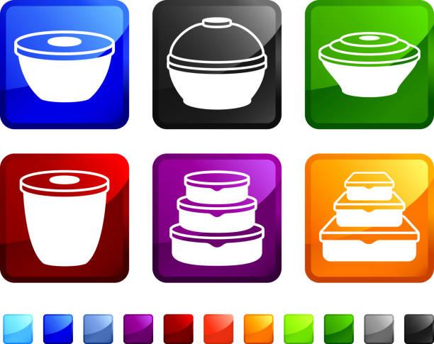 ilustraciones, imágenes clip art, dibujos animados e iconos de stock de contenedores de alimentos sin royalties de vector icon set pegatinas - leftovers