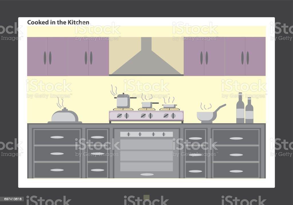 Alimentos Cocidos En La Cocina En Tv Led - Arte vectorial de stock y ...