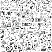 cookery - set icons in sketch style , design elements
