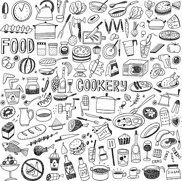 stockillustraties, clipart, cartoons en iconen met food cookery doodles - meat pan