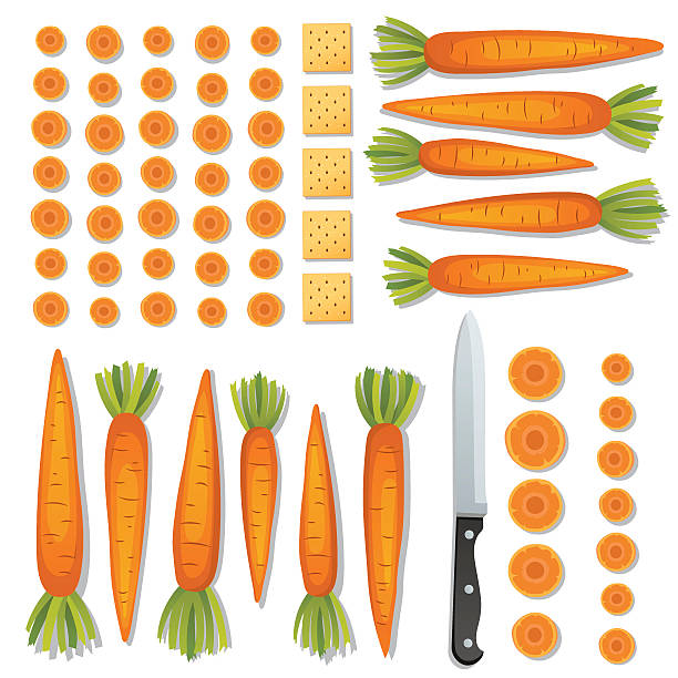 food cooking flat lay on a bright background - carrot stock illustrations