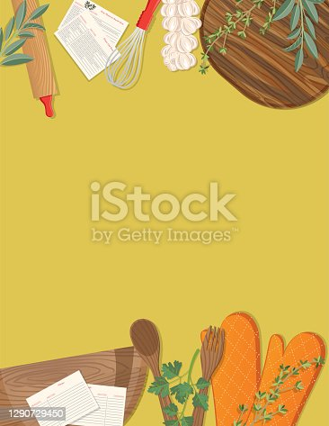 istock Food Cooking Flat Lay On Colourful Background 1290729450