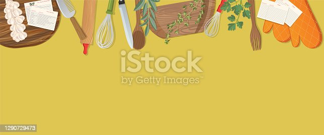 istock Food Cooking Flat Lay On Colourful Background 1290729473