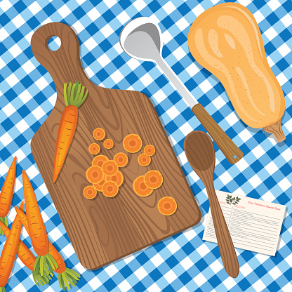 Food Cooking Flat Lay With Butternut Squash Soup