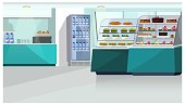 Food counter in confectionery store vector illustration. Sandwiches, burgers and candies on shelves, fridge with bottled water. Interior illustration