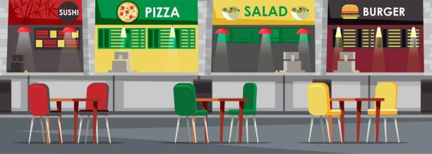 food court, cafeteria flache vektor-illustration - salatbar stock-grafiken, -clipart, -cartoons und -symbole