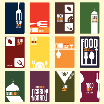 Food court cash card. Menu card. Vector illustration