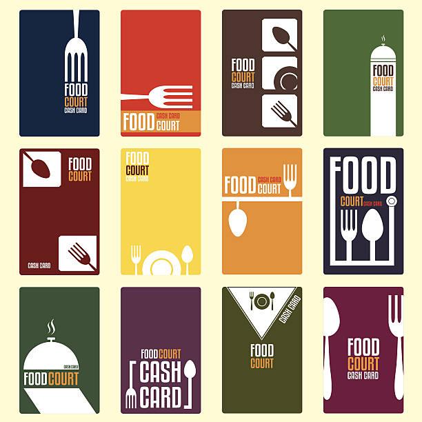 Food court cash card. Menu card. Vector illustration Food court cash card. Menu card. Vector illustration cooking borders stock illustrations