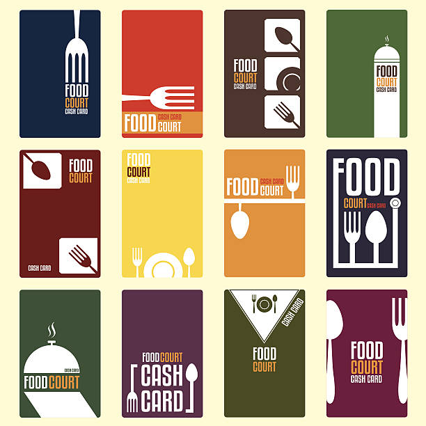 Food court cash card. Menu card. Vector illustration Food court cash card. Menu card. Vector illustration cooking borders stock illustrations